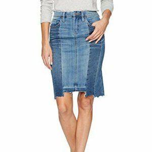 Blank NYC Patchwork Denim Jean Pencil Skirt